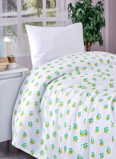 Komfort Home Tek Kişilik %100 Pamuk Petek Pike / Limon Desenli Renkli